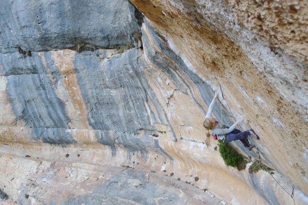 Mina climbing 'La Cara Que No Miente' 8a+ in Siurana. Photo- Calum Muskett