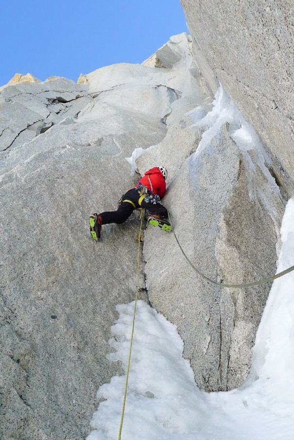 Dave torquing up icy cracks. Photo - Calum Muskett