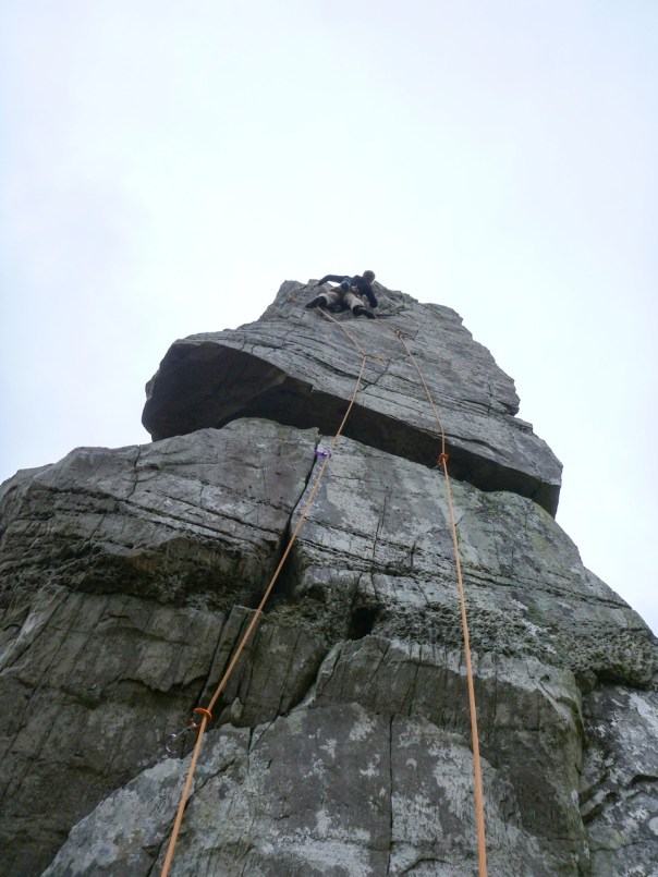 Climbing the unique pillar of 'Dead Presidents' E6 6b, in the Llanberis Pass. Photo - Steve Long