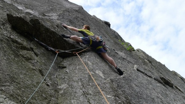 The worrying wall climb of 'The Haunted' on Craig yr Ysfa. Almost certainly E6 now that the peg is missing below the crux. Photo - Jamie Holding