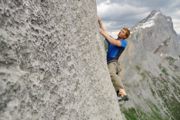 Attempting the tricky third 8a+ pitch. Photo - Wiz Fineron