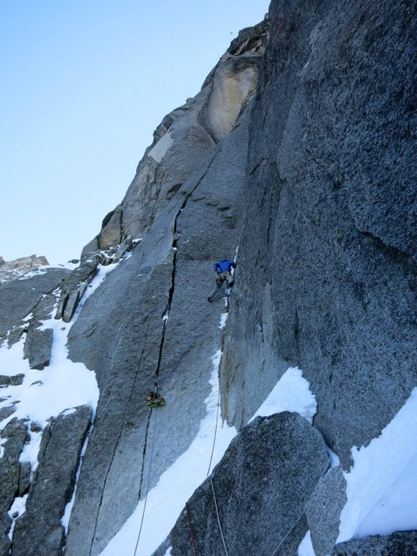 Leading the first sustained corner pitch of the Gabarrou-Silvy. Photo - Jon Bracey