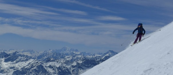 Gabby skiing down the Breithorn. Photo - Calum Muskett