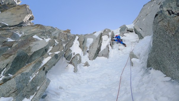Heading up the final section of the Dru Couloir. Photo - calum Muskett