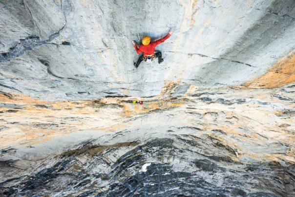 Alex's fantastic photo of Dave tackling the crux 8a pitch. Photo - Alexandre Buisse