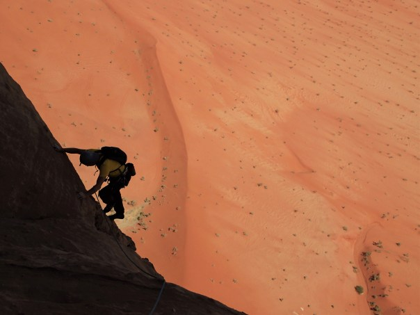 Steve Long enjoying the wonderful Wadi Rum classic 'La Guerre Sainte'. Photo - Calum Muskett