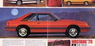 Rys. 1. Fragment artykułu zapowiadającego nowego Mustanga, zdjęcia w wersji Coupe (biały), Hatchback (czerwony i żółty)