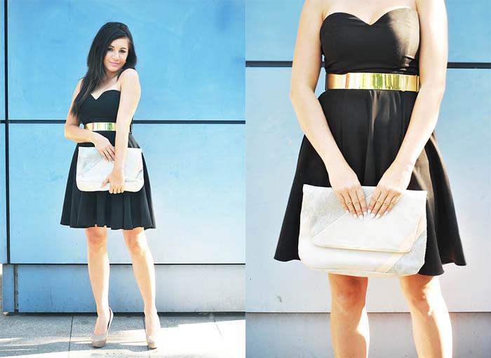 czarna sukienka rozkloszowana