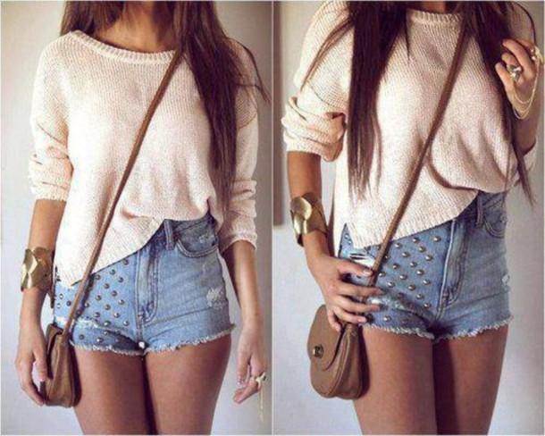 9rozc5-l-610x610-sweater-cute-beige-classy-jewels-short-pull-sac-shorts-knit+sweater-denim+shorts-studs-cross+body+bag-jeans-out