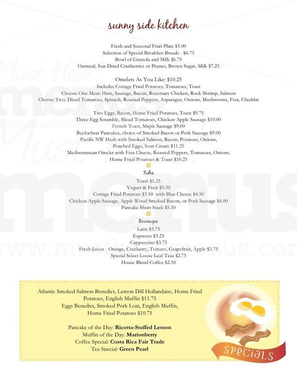 one page menu template - 5 day menu template