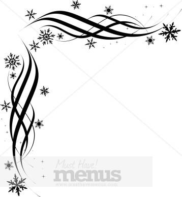 Black Snowflake Corner Christmas Menu Borders - snowflake borders for word