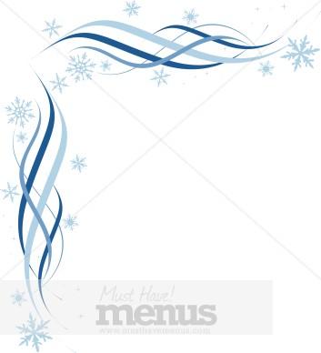 Blue Snowflake Corner Christmas Menu Borders - snowflake borders for word