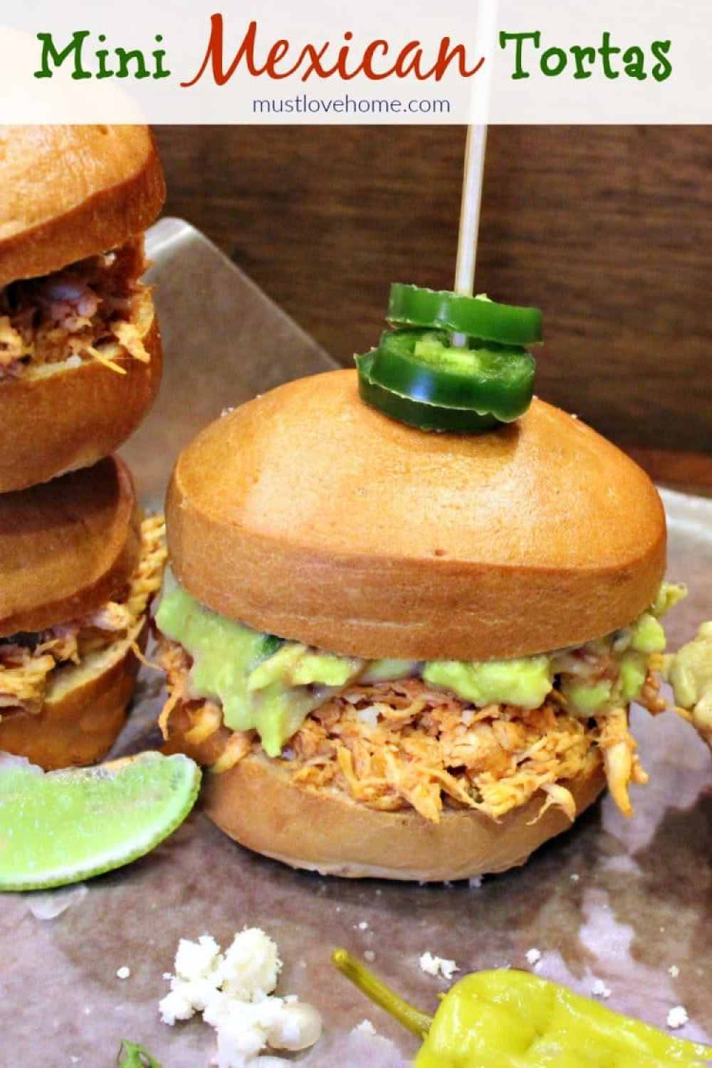 sandwiches filled with spicy chicken, guacamole and Queso Fresco ...
