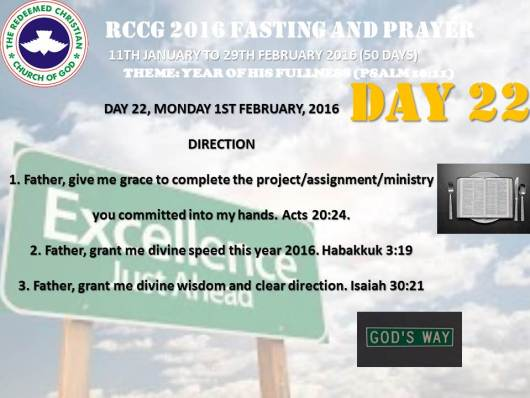RCCG fasting 2016 DAY  22