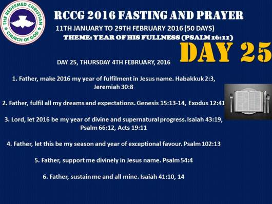 RCCG fasting 2016 DAY 25