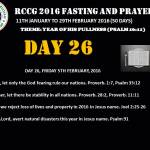 RCCG fasting 2016 DAY 26