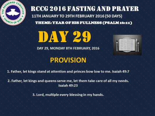 RCCG fasting 2016 DAY 29
