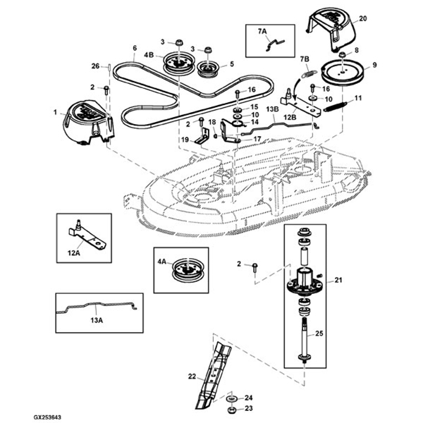 john deere 727a drive belt diagram