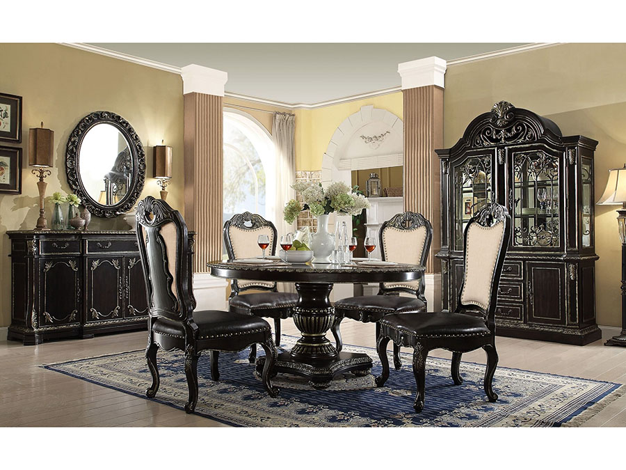 Round Dark Ebony Gold Gothic Dining Table Set Shop For