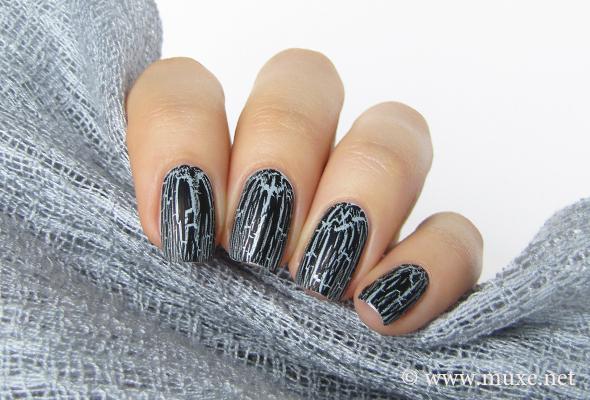 OPI Black Shatter over grey