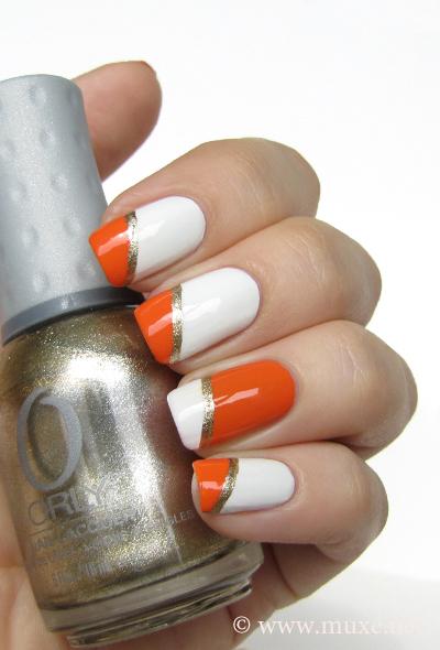 White and orange nails design