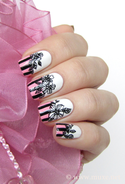 Black flowers nail design