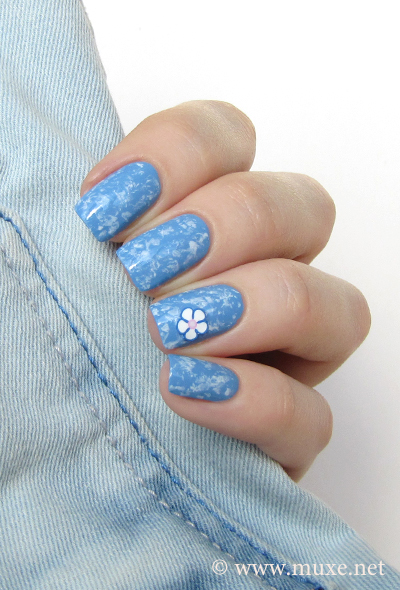 Blue and white saran wrap nails