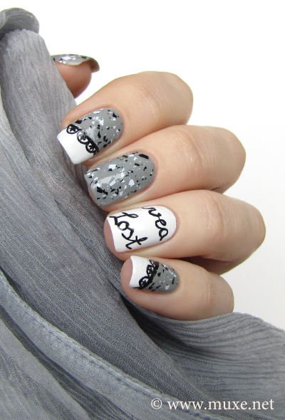 Nail design with letters and lace