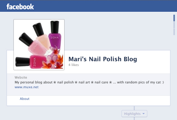 Facebook page for my blog
