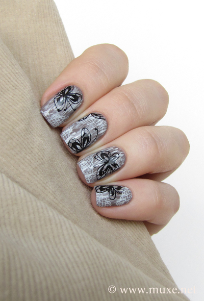Lace and butterflies nail art