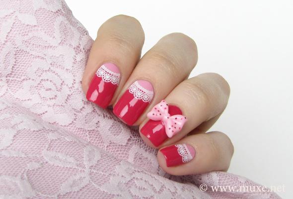 Pink lace nail art
