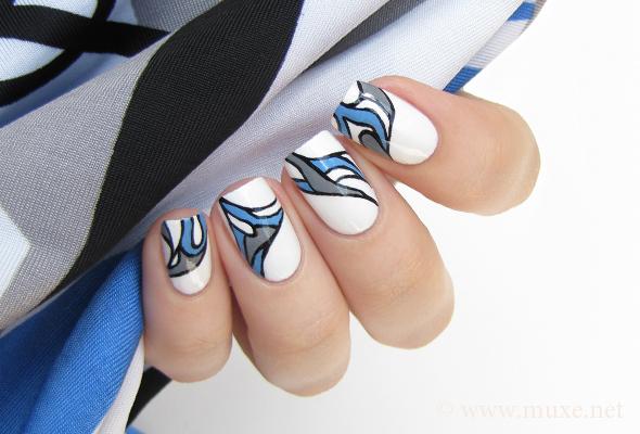 Blue and grey abstract nail design