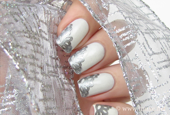 Silver lace nail 3D decals