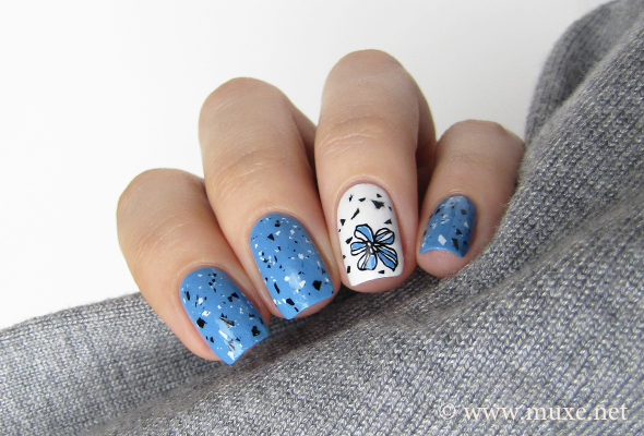 Blue nails with black and white