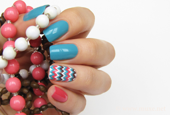 Chevron nail art on white