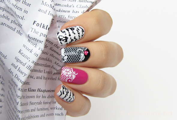 Lace nail art on pink and white nails