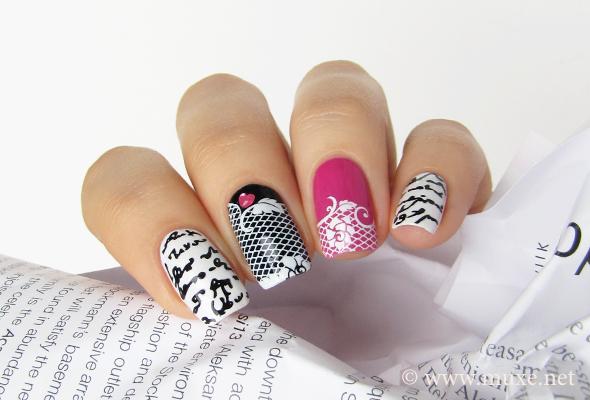 Words on nails design newspaper