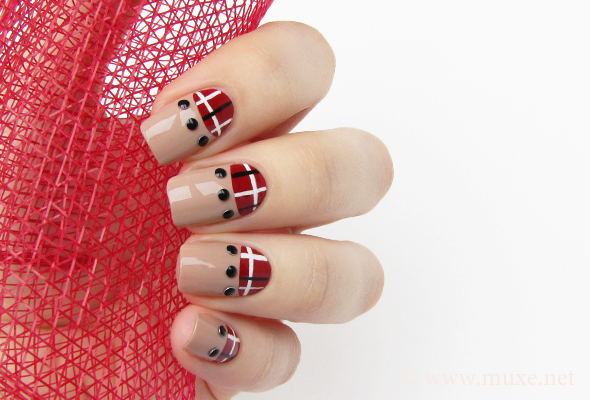 Red plaid half moon nail design