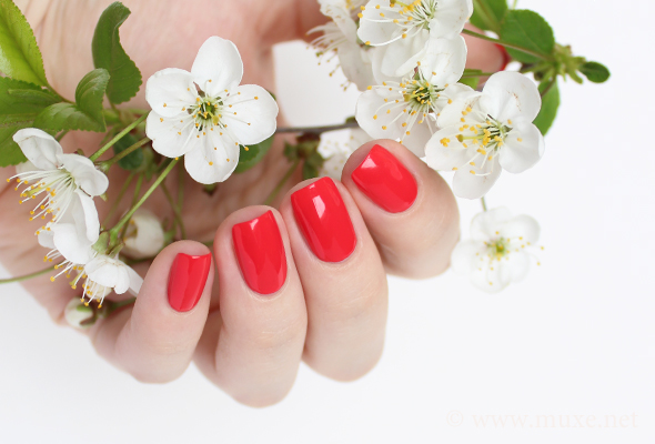 Bright orange red nails manicure