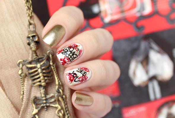 Halloween skeleton nails design