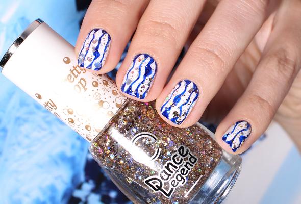 White blue nail art waves