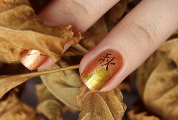 Japanese hieroglyph nail art design