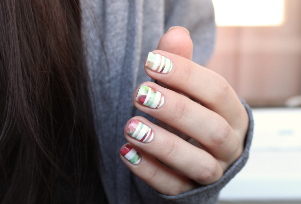 Colorful stripes nail design