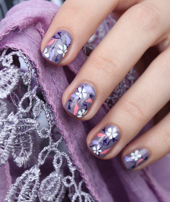 Lilac and white flowers nail design hand painted