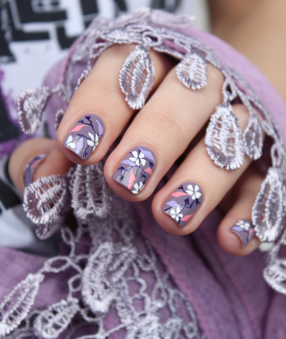 Lilac flowers nail art design hand painted