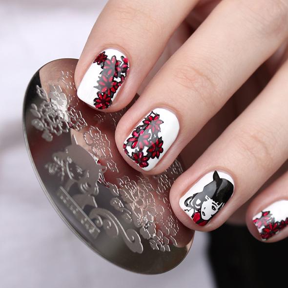 Anime girl stamping nail design