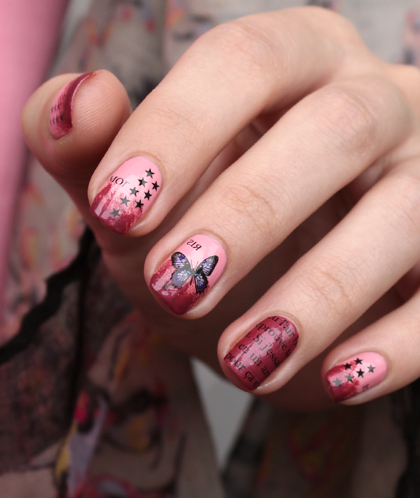 Butterfly nail design in pink