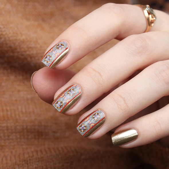Gold brown nail design Orly Luxe