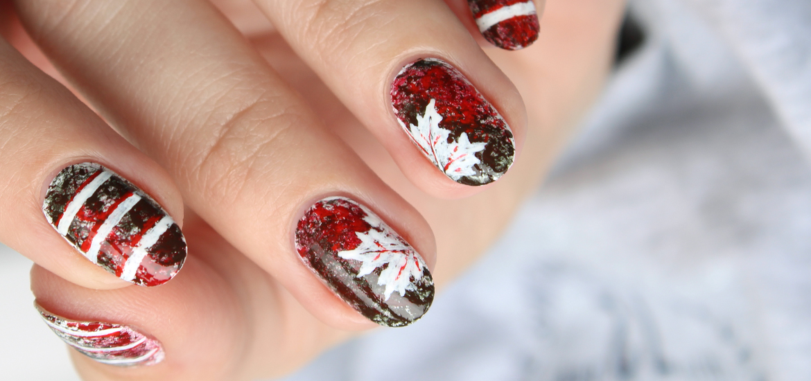 Maple leaves nail design