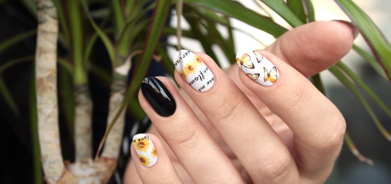 Sunflower nail water decals